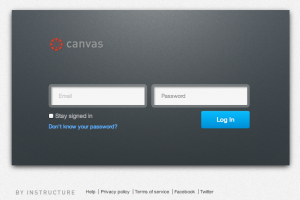 Screen shot of the Canvas login.