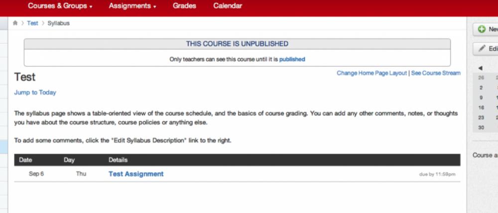 Unpublished course