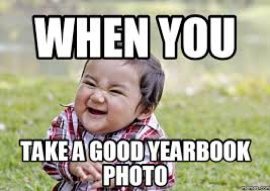 "Smiling baby meme, ""When you take a good yearbook photo."""
