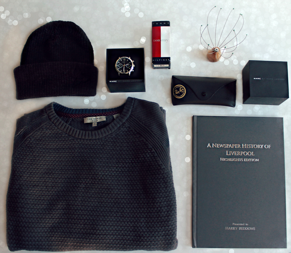 ( Ted Baker Jumper ,  Personalised Book ,  Topman Beanie ,  Marc Jacobs Watch ,  Ray Ban Glasses Case ,  Tommy Hilfiger Aftershave ,  Head Massager )