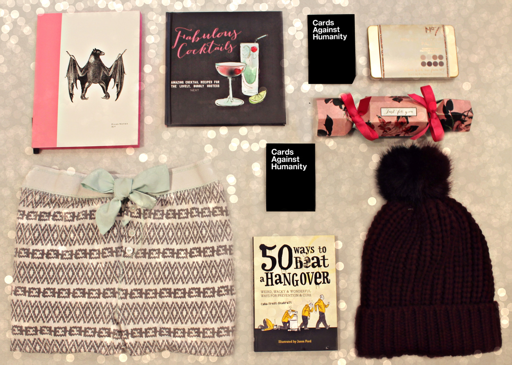 ( Pyjamas  (similar here),  50 Ways To Beat A Hangover  (similar here),   Beanie ,  Stationary ,  Cocktail Book  (similar here),  Cards Against Humanity ,  Cracker ,  No.7 Palette )