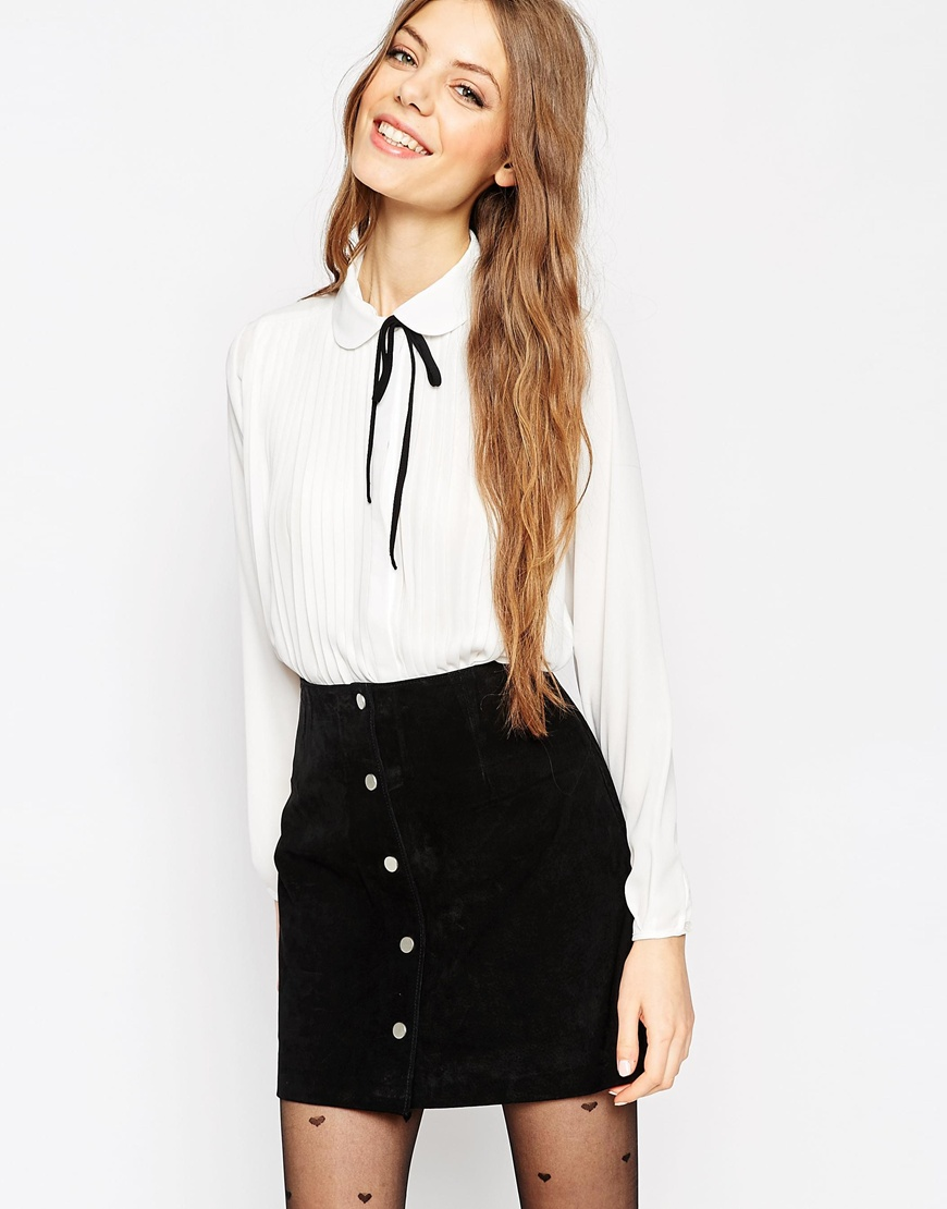 Pleated Blouse With Black Tie Detail