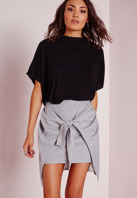 Grey Tie Front Mini Skirt