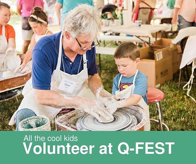 Meet Steve. Steve volunteers at Q-FEST. Steve is cool. Be like Steve. .  Sign up with a friend here: https://www.signupgenius.com/go/20f044fa9af22a4f85-qfest .  #volunteer #allthecoolkidsvolunteer #QFEST The District Quincy Right on Q (No pottery wheel experience required.) @thedistrictquincy @quincyartcenter @quincyrightonq @hannibalarts @artsallianceil