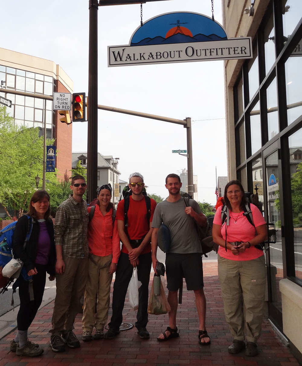 Vince Mier (pictured second to right) gearing up for a recent backpacking trip to Seneca creek trail in west virginia with harrisonburg area hikers of all skill levels.