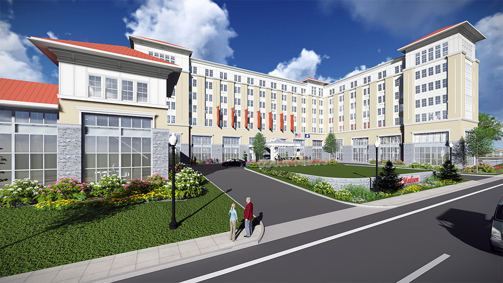 Rendering of the hotel and conference center.