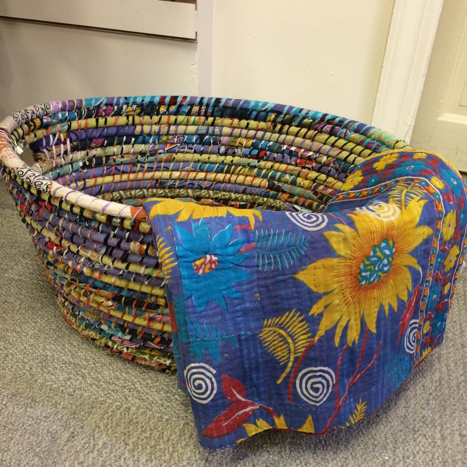 Recycled Sari Basket and Throw