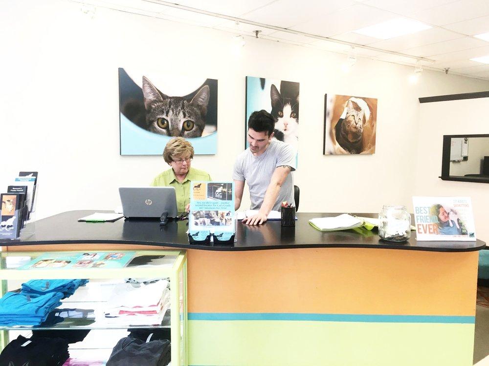 Matt Chan, Adoption & Volunteer Coordinator, pictured with Pam Miller, a volunteer.