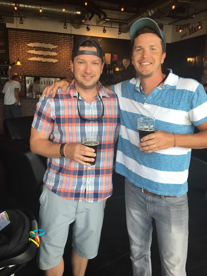 Colby & Brian Trow at the Mossy Creek Brown Ale Launch Party. Credit: Mossy Creek Fly Fishing Facebook Page