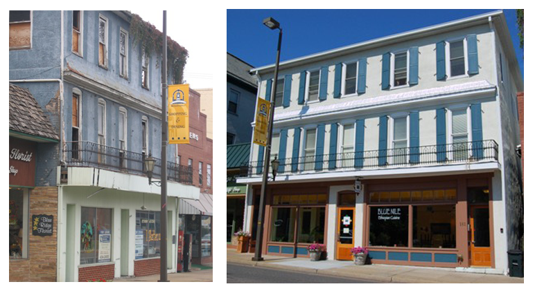 A before and after of the Walton Hotel, one of the first recipients of the Facade Enhancement Grant program.