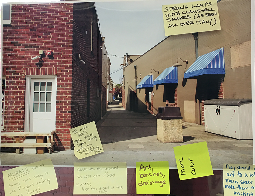 We asked participants to tell us their ideas for making this walkway on Water Street more inviting.