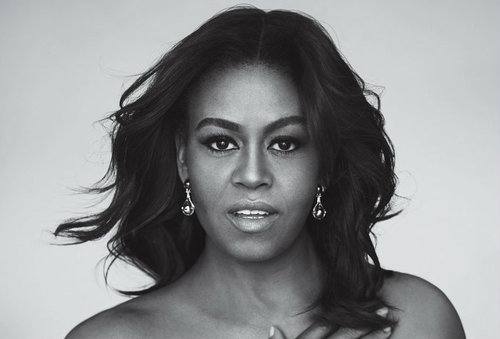 Black And White Portrait Michelle Obama