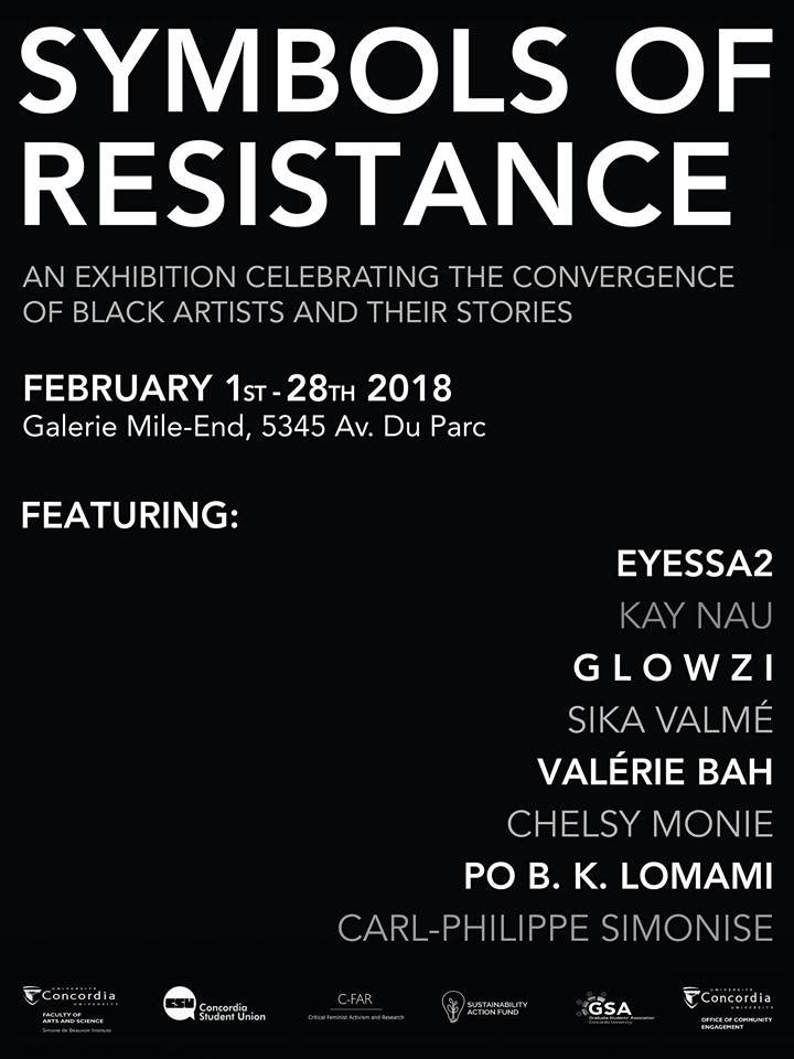 An Exhibition Celebrating the Convergence of Black Artists and their Stories. This month-long exhibition features the work of Black-identified, Montreal-based visual artists exploring Black identity and the diverse facets of its representation. The art has been created to carry community stories, histories and perspectives in order to express Black identity in Montreal in relation to the intersecting themes of women, diaspora, resistance, LQBTQ communities, immigration, space, families.  More info+