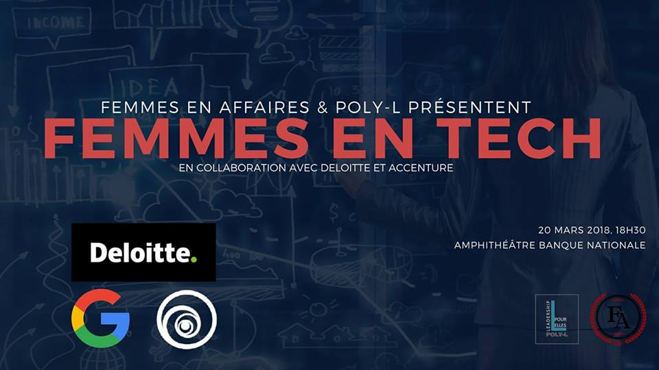 Le comités Femmes en Affaires - HEC Montréal & Poly-L : Leadership pour elles présentent la conférence Femmes en Tech. Une occasion parfaite pour en apprendre plus sur les opportunités et les différentes possibilités de carrière dans le domaine des technologies. Plus d'info+