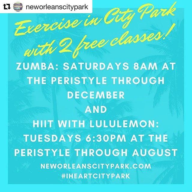 #Repost @neworleanscitypark ・・・ Free classes! #iheartcitypark #explorecitypark #livinghealthy #nola #hiit #zumba #free #🏋🏽