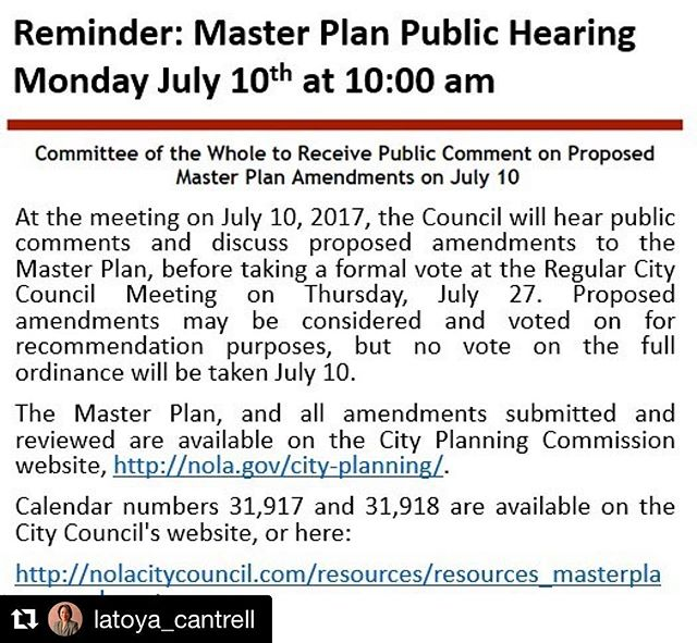 #Repost @latoya_cantrell  The Master Plan's up for amendment and we want to hear from you! #midcity #nola