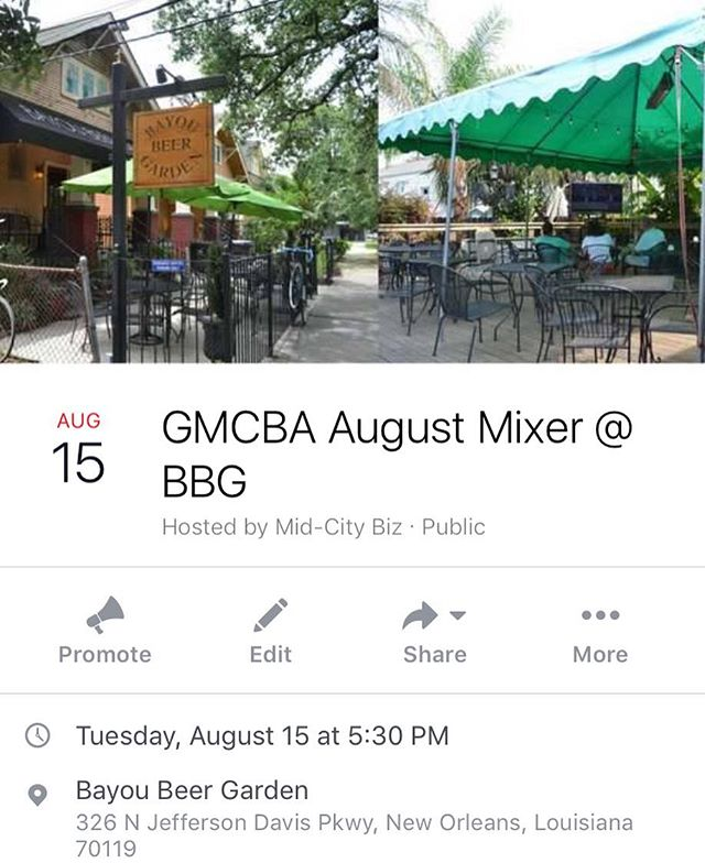 Please join us for the August Mixer at BBG! #beerspecials #networking #midcity #midcitybiz #midcitynola