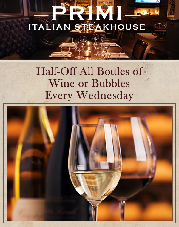 Enjoy 50% off ALL wines by the bottle every wednesday!