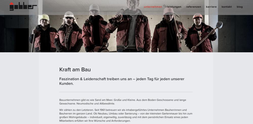 A. Gobber Bau - Konzept, grafisches Design und Bildkonzept, Text, Umsetzung, Überwachung Fotoshooting, Domain-Transfer