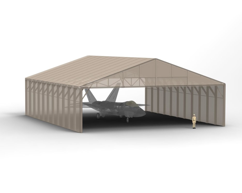 68Wx19Hx82.5L Olympic Folding Building - Rapid Deployment Modular Protective Enclosure