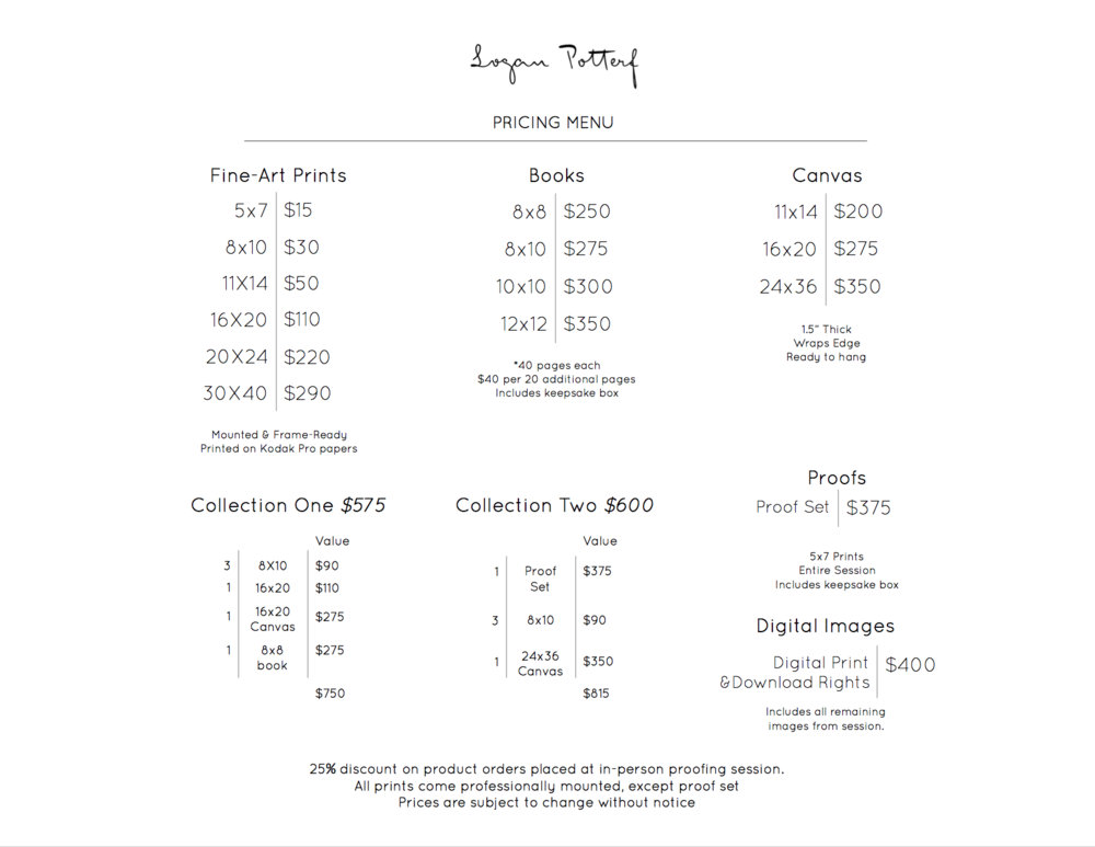 Pricing menu for prints and products. Please let me know if you have any questions!