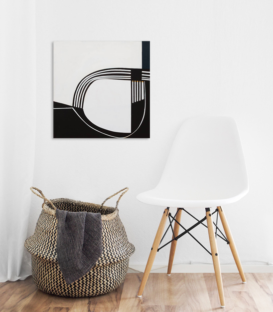 saatchi-art-alyson-khan-minimal-black-and-white-painting-hygge-wood