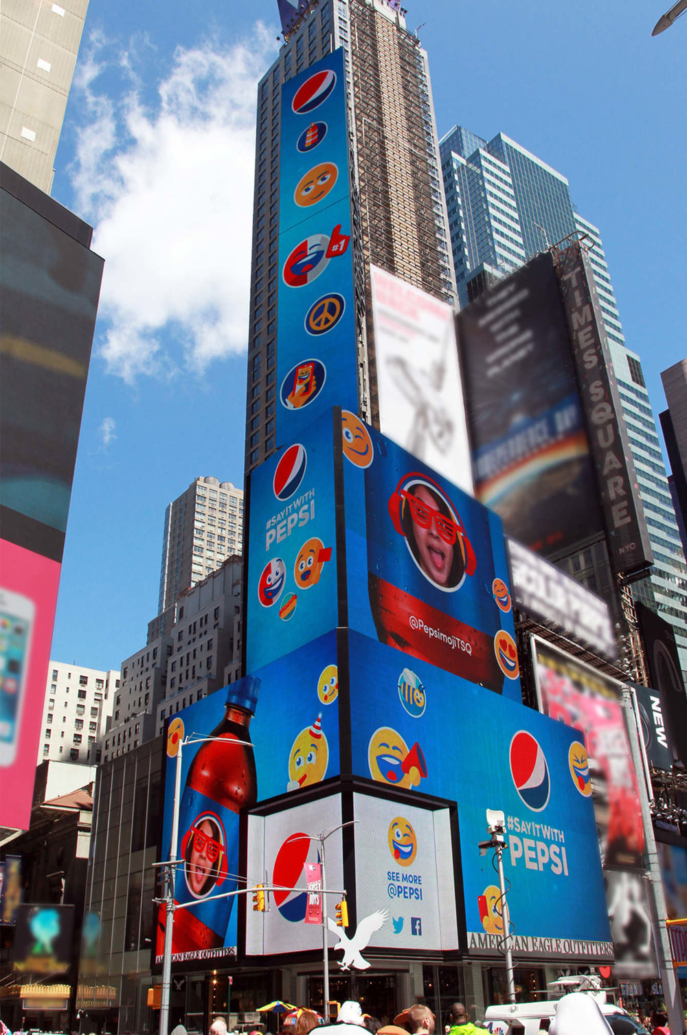 Then we broadcast those personalized Pepsimojis across three of the biggest billboards in the country.