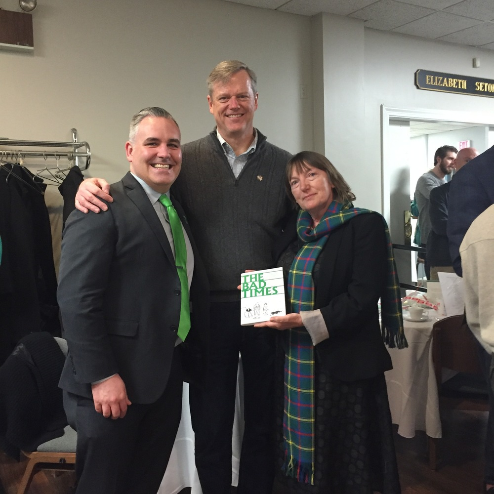 John Walsh, Massachusetts Governor Charlie Baker, and Christine Kinealy at the annual Saint Patrick's Day Breakfast Fundraiser for the Mary Ann Brett Food Pantry.