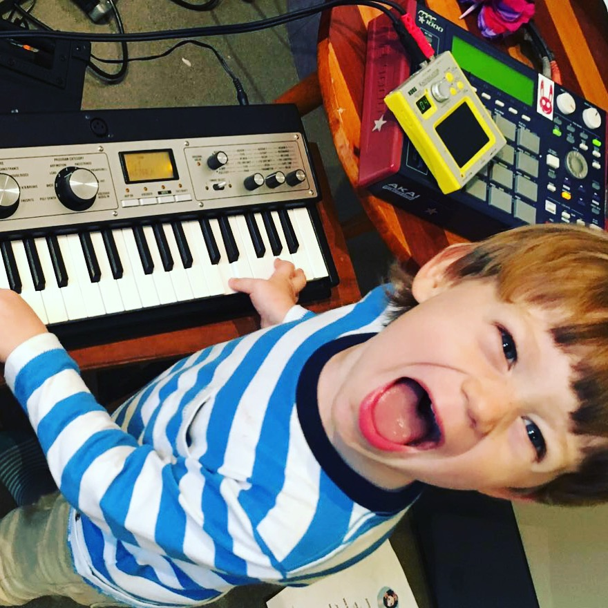 Happiness. when a 3 years old discovers the magic of electronic music.