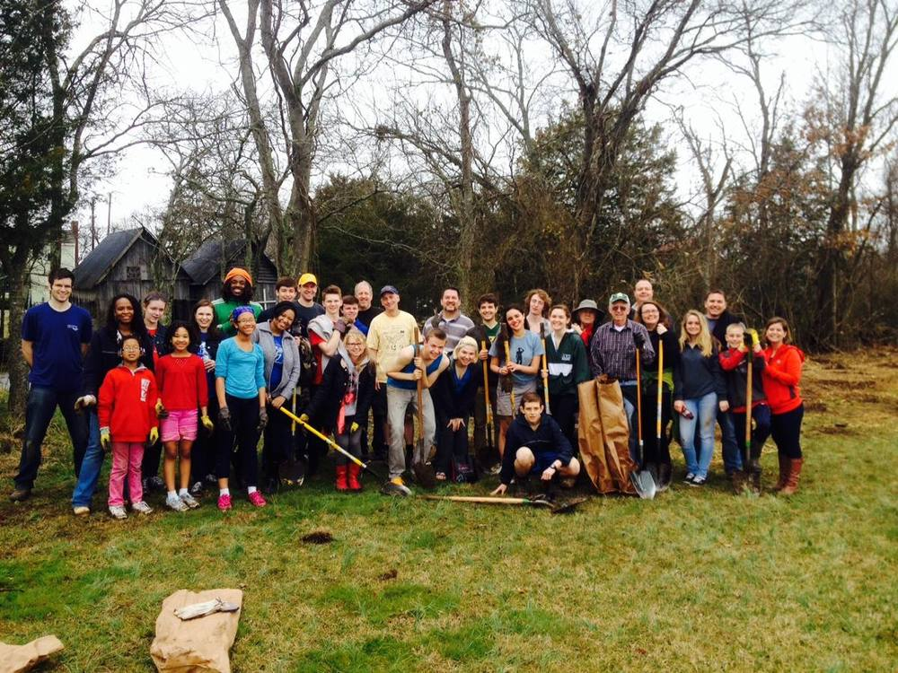 Volunteers planted 188 native seedlings at Nolensville Park on March 14, 2015, as part of 50K Tree Day.