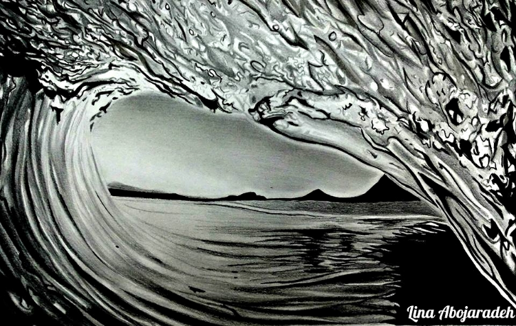 Image Description: Black and white image of a wave. It's as if the viewer is looking out from inside of a crested wave.  The ocean lies at the bottom of the picture, rises into a wave on the left, and crests on the top and to the right.  Through the oval view looking past the wave, we see the sky and the silhouette of some mountains.  The artist signature, Lina Abojaradeh, lies to the bottom left, where the wave begins and ends.