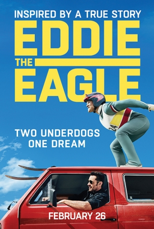 "Photo Description: Movie advertisement reads ""INSPIRED BY A TRUE STORY, ""EDDIE THE EAGLE,"" TWO UNDERDOGS ONE DREAM"", FEBRUARY 26"". 3/4 of image is sky, on top, with the bottom 1/4 showing a middleaged man in an old red VW Vanagon, with the window down, sticking his head out, resting his arm on the window fram, smiling.  On top of the van, a man is crouched, as if downhill skiing.  This man wears a helmet, ski goggles, and a full competitive skiers uniform with the number ""24"" on the front."