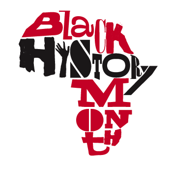 "Image Description: The words ""Black History Month"" are laid out in the shape of the continent of Africa. ""Black"" and ""Month"" are both in red, ""History"" is in black. The ""i"" in ""History"" is a forearm and hand, reaching up.  All the other letters seem to each be a different font."
