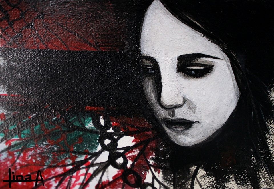 Art Description: In this painting by Lina A. (signed on lower left) a woman's face in black and white, with a tinge of blue in the eyes, looks down with a forlorn emotion.  The left side of the painting has a black stripe with textured red and black above. Below the stripe some green texture overlaid with black branches, a chain, and some red texture.     Lina Abojaradeh Art- https://www.facebook.com/linaabojaradehart