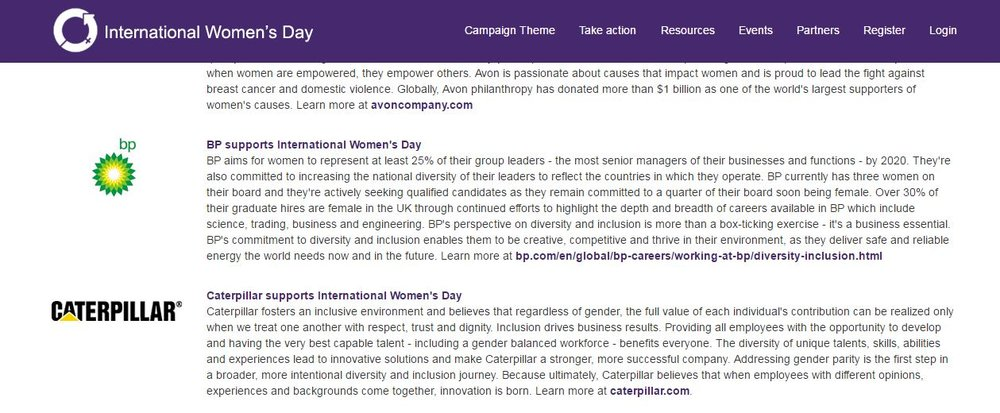 Photo Description: A screenshot from the Partners page on the International Women's Day website https://www.internationalwomensday.com/