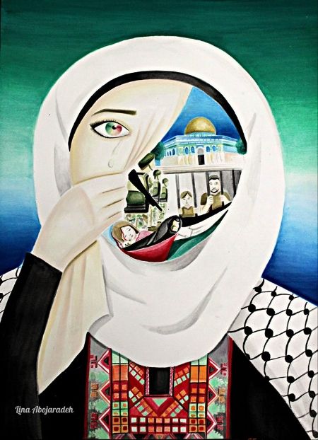 Photo Description: A painting depicting the hidden suffering of Palestinian women- imprisoned husbands, dead children, and humiliation under occupation.
