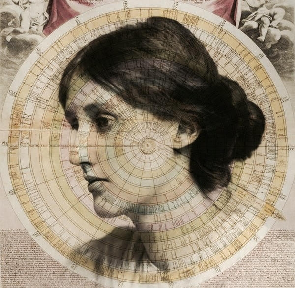 Virginia Wolf stares off thoughfully to the side with an old clock wrapped around her, reaffirming her theory about the elasticity of time.