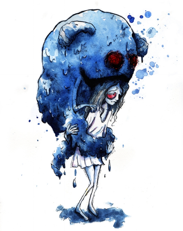 Photo Description: A blue, red eyed glob monster wraps around a girls midsection squeezing the life out of her and causing her eyes to turn red. Photo by AlmostButNotQuite, art featured here.