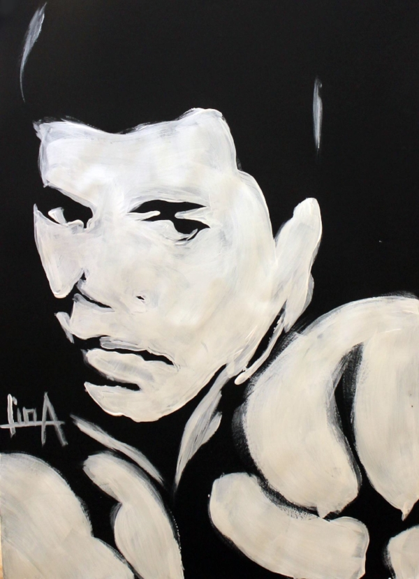 Art Description: White on black image by Lina Abojaradeh. Muhammad Ali's looks serious as he has both boxing gloves close to his face in a proctective stance. Click on Photo for more Art by Lina.