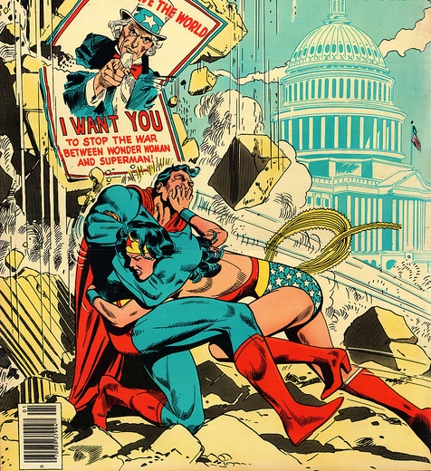 "Image Description; On the lower half of the color drawing we see Wonder Woman smashing Superman into a wall, the wall crumbling from the blow. and dust clouds rise to meet the sky. A poster of Uncle Sam on the crumbling wall states ""Save the World, I want you to stop the war between Wonder Woman and Superman!."" The While House looms, faded, blue against a blue sky, in the background."