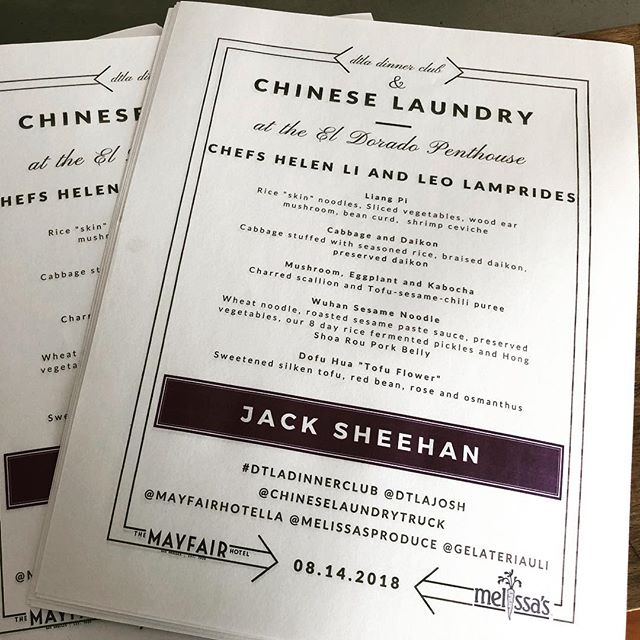 The menus are ready for tonight's #dtladinnerclub with @chineselaundrytruck featuring @melissasproduce and sponsored by the @mayfairhotella