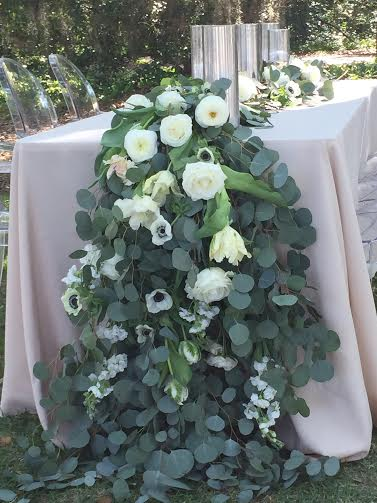 Wedding florists charleston sc south carolina cascading euc table garland with white flowersg mightylinksfo