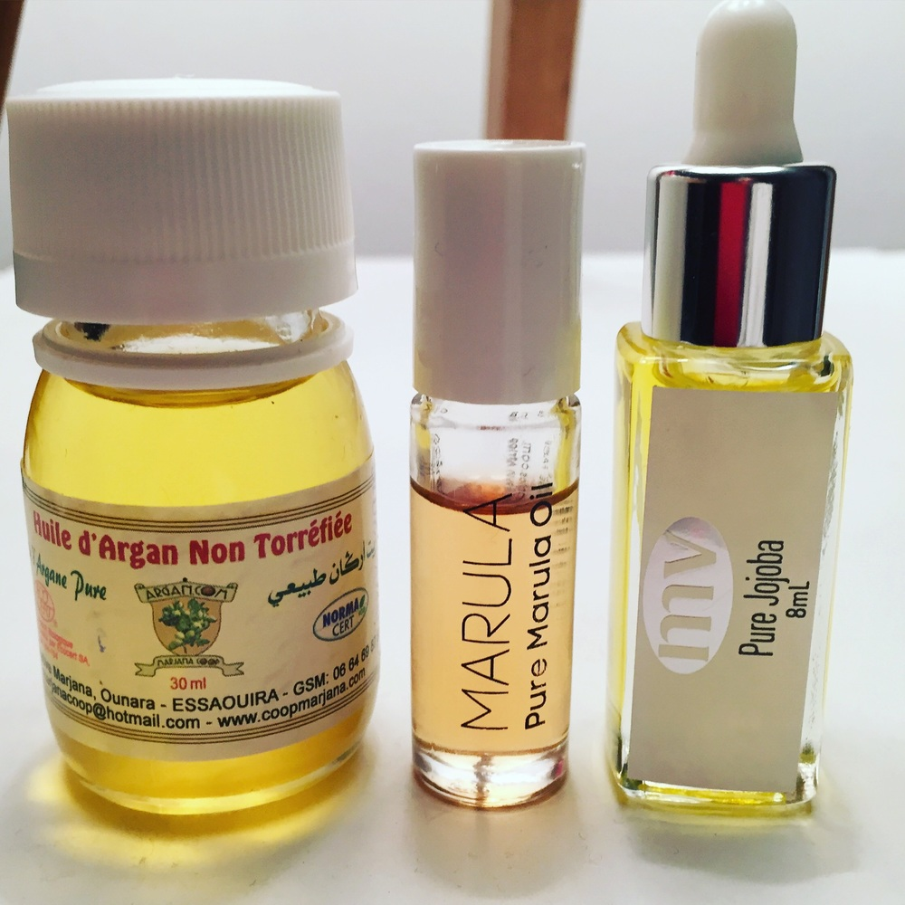 Argan oil (from random co-operative in Morroco, Marula Oil (African Botanicals) and Jojoba Oil by MV Organics