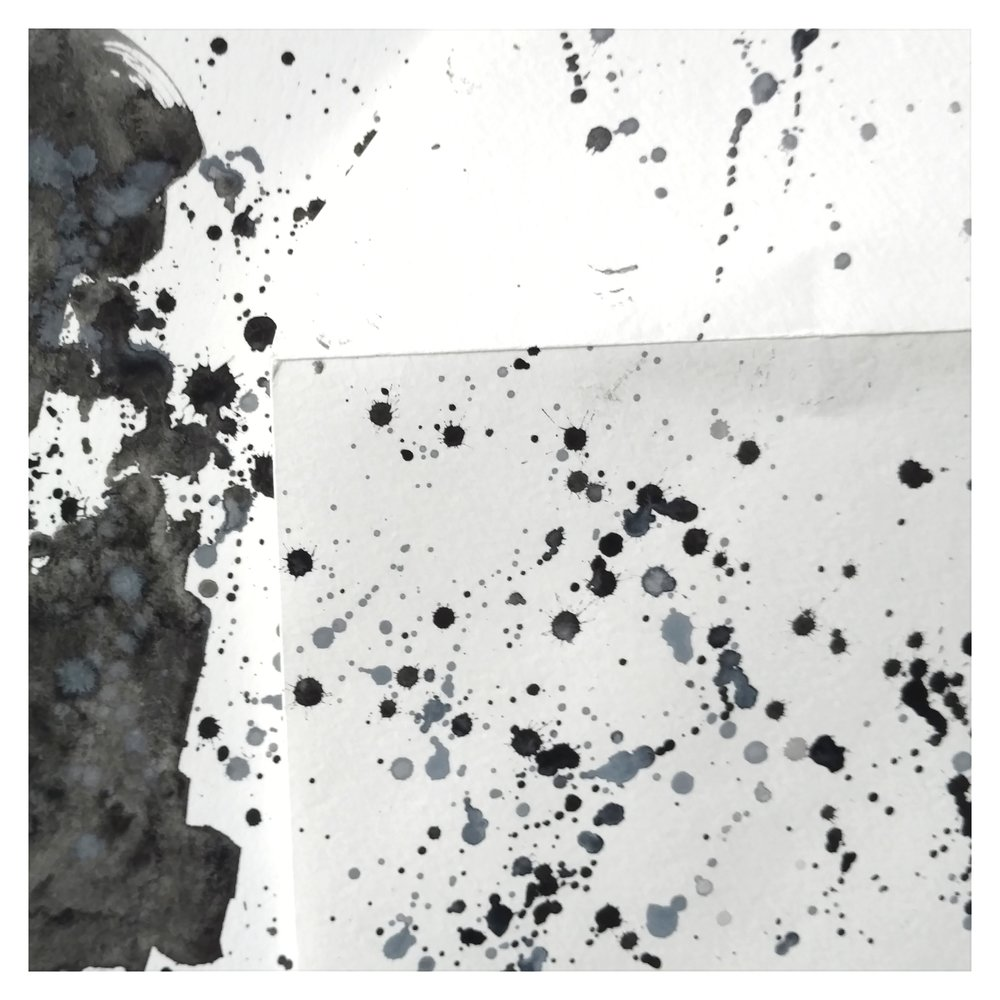Mineraled silver and black gouache watercolor art by stationery designer Amanda Adams of Three Poppy Paper Co www.threepoppypaperco.com