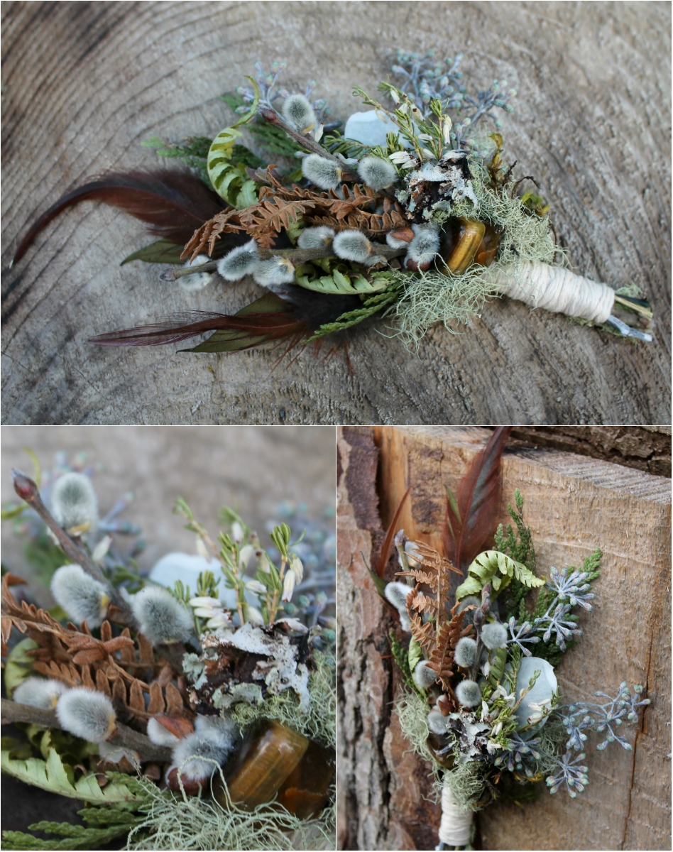 Tiger's Eye Boutonniere. Tiger's Eye gemstone, pussywillow, seeded eucalyptus, moss, lichen, copper fern, cedar tips and rooster feather.