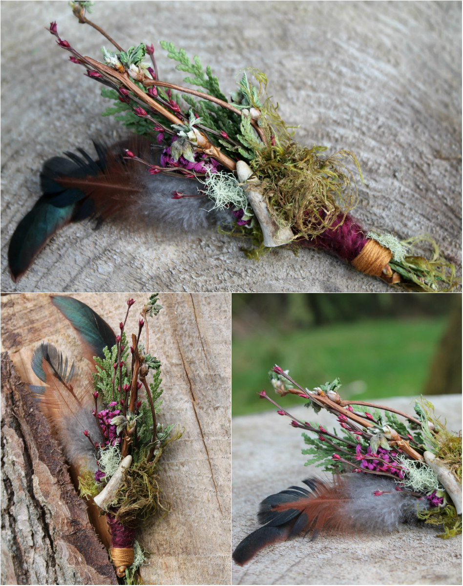 Huckleberry Antler Boutonniere. Deer antler tip, huckleberry and salmonberry buds, cedar, heather, moss, lichen and rooster feather.