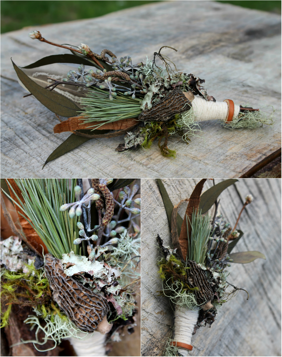 Wild Mushroom Boutonniere. Morel mushroom, white pine, willow buds, cedar bark, eucalyptus, lichen, moss, grouse feather and suede.