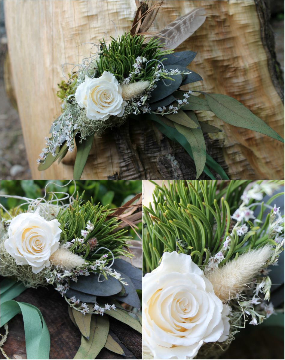 Woodland Corsage. Preserved antique white rose, eucalyptus, pine, sweet woodruff, cedar bark, german statice, bunnytail grass, moss, lichen and vintage 1960s green silk ties.