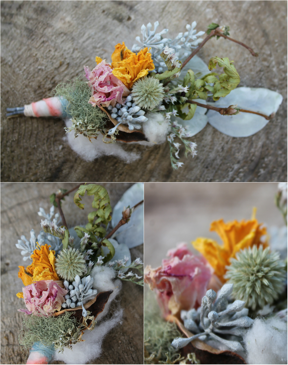 Spring Thistle Boutonniere. Thistle, daffodil, peony, cotton boll, eucalyptus, fern, lichen and german statice.