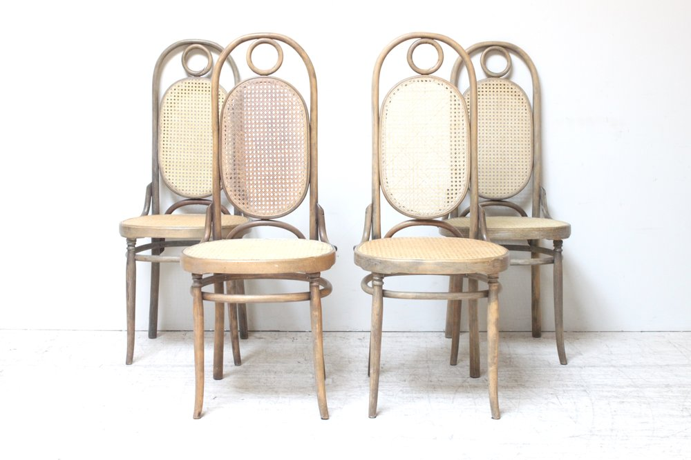 Italian Bentwood Cane Dining Chairs (Set/4)